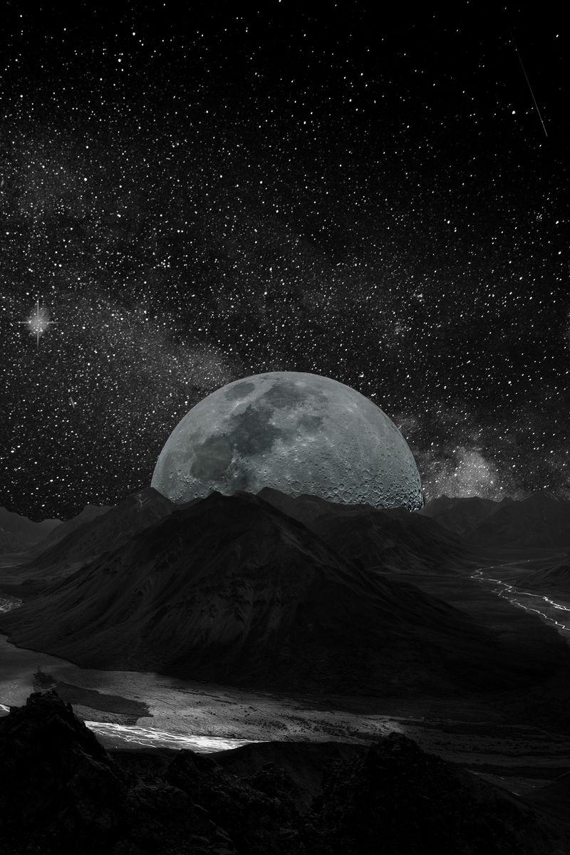 800x1200 Wallpaper moon, planet, stars, galaxy, space