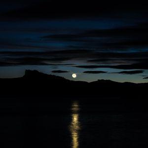 Preview wallpaper moon, sky, horizon, river, mountains