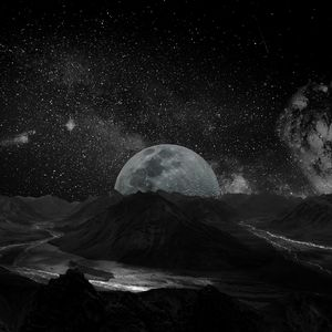 Preview wallpaper moon, space, universe, photoshop, bw