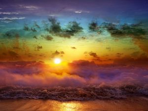 Preview wallpaper moon, sun, decline, evening, merge, day, night, sea, waves, fog, clouds