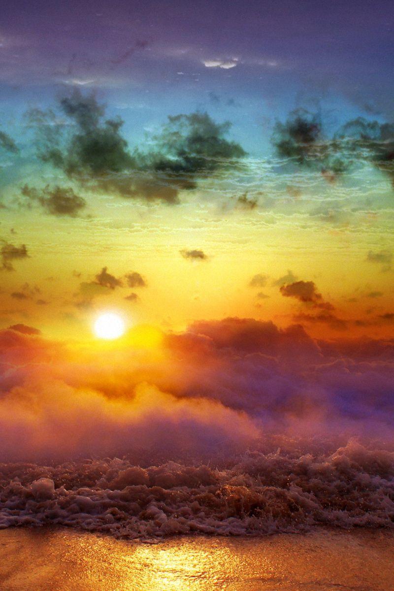 800x1200 Wallpaper moon, sun, decline, evening, merge, day, night, sea, waves, fog, clouds