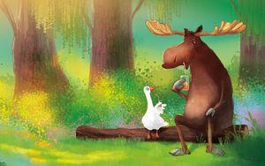 Preview wallpaper moose, goose, friends, juice, art
