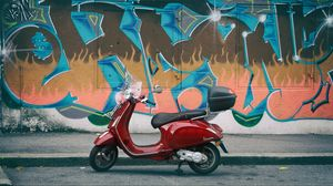 Preview wallpaper moped, red, wall, graffiti
