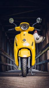 Preview wallpaper moped, scooter, helmet, yellow, front view