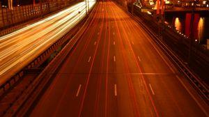 Preview wallpaper moscow, bridge, car, road, lights