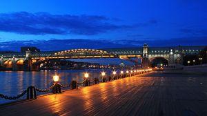 Preview wallpaper moscow, bridge, pushkin embankment, night