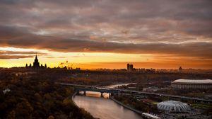 Preview wallpaper moscow, city, landscape, sports kremlin, bridge, river