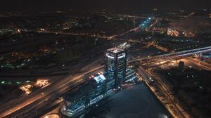 Preview wallpaper moscow, moscow city, top view, night