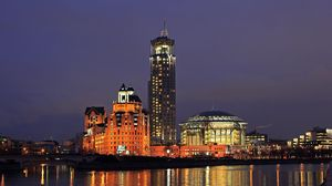 Preview wallpaper moscow, russia, river international house of music, night
