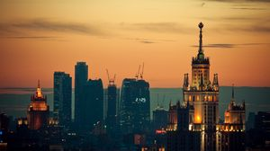 Preview wallpaper moscow, sunset, lights