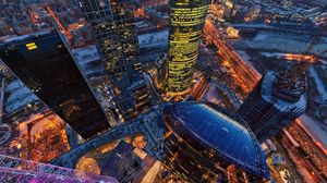 Preview wallpaper moscow, tower, view from above, buildings, capital, russia