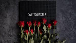 Preview wallpaper motivation, inscription, plate, flowers, roses