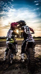 Preview wallpaper motocross, kiss, love, moto, sport, sunset