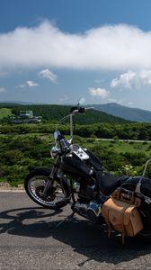 Preview wallpaper motorcycle, bike, black, road, mountains