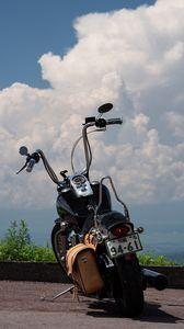 Preview wallpaper motorcycle, bike, black, road, clouds, moto