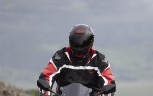 Preview wallpaper motorcycle, bike, black, motorcyclist, road