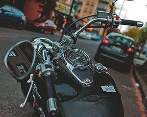 Preview wallpaper motorcycle, bike, black, speedometer, parking, moto