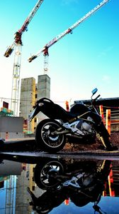 Preview wallpaper motorcycle, bike, black, reflection, water, constructing