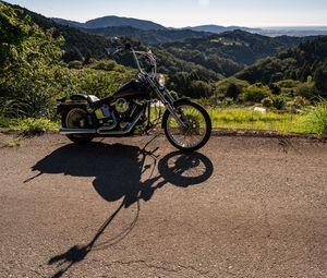 Preview wallpaper motorcycle, bike, black, mountains, landscape