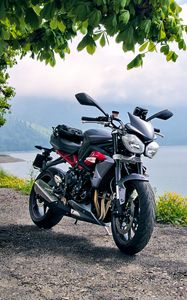 Preview wallpaper motorcycle, bike, black, coast, sea