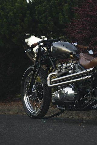 320x480 Wallpaper motorcycle, bike, brown, chrome, road
