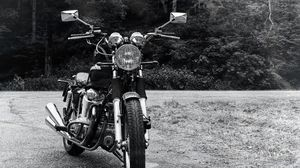 Preview wallpaper motorcycle, bike, headlight, front view, black and white