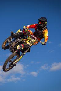 Preview wallpaper motorcycle, bike, motorcyclist, trick, jump, sky