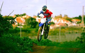 Preview wallpaper motorcycle, bike, motorcyclist, jump, trick