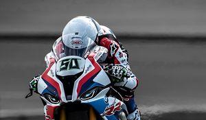Preview wallpaper motorcycle, bike, motorcyclist, helmet, speed