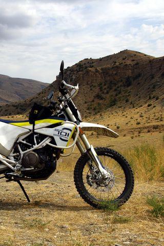 320x480 Wallpaper motorcycle, bike, mountains, nature
