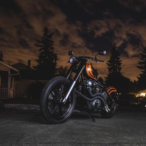 Preview wallpaper motorcycle, bike, orange, black, twilight, darkness