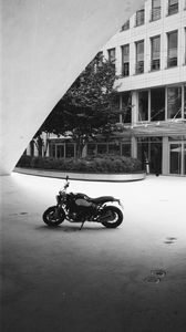 Preview wallpaper motorcycle, bike, parking, black and white