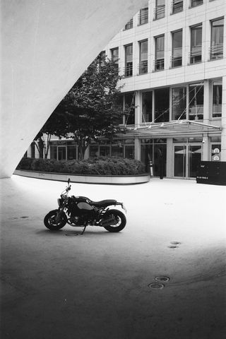 320x480 Wallpaper motorcycle, bike, parking, black and white