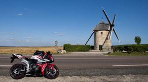Preview wallpaper motorcycle, bike, sport bike, road, red