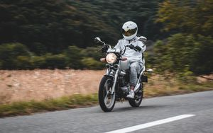 Preview wallpaper motorcycle, motorcyclist, bike, white, road, speed