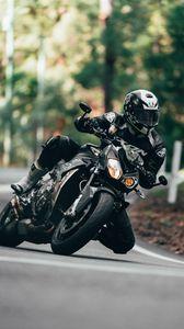 Preview wallpaper motorcycle, motorcyclist, bike, sport bike, black, moto