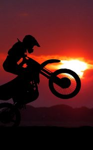 Preview wallpaper motorcycle, motorcyclist, cross, stunt, silhouette, sunset