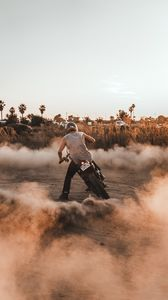 Preview wallpaper motorcycle, motorcyclist, drift, dust