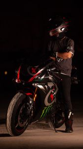 Preview wallpaper motorcycle, motorcyclist, helmet, darkness