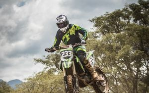 Preview wallpaper motorcycle, motorcyclist, jump, cross, extreme