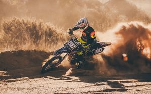 Preview wallpaper motorcycle, motorcyclist, rally, racing, drift, offroad