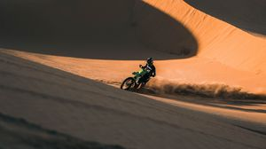 Preview wallpaper ktm, motorcycle, motorcyclist, rally, desert, sand