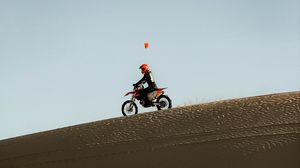 Preview wallpaper motorcycle, motorcyclist, rally, sand, desert