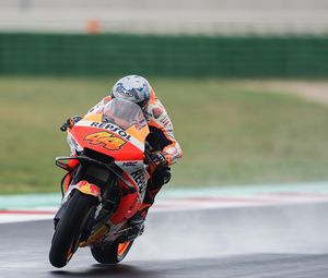 Preview wallpaper motorcycle, orange, motorcyclist, speed, race