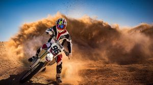 Preview wallpaper motorcycle, race, dust, rider, sport