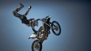 Preview wallpaper motorcycle, rider, sport, stunt, jump