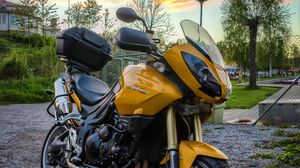 Preview wallpaper motorcycle, wheels, yellow