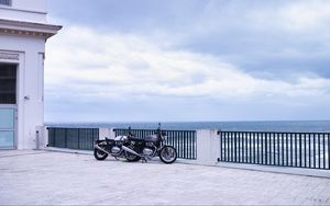 Preview wallpaper motorcycles, bikes, black, embankment