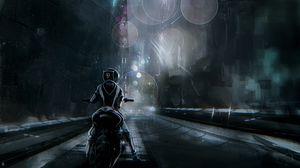 Preview wallpaper motorcyclist, futurism, city, cyberpunk