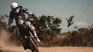 Preview wallpaper motorcyclist, motion, stunt, speed